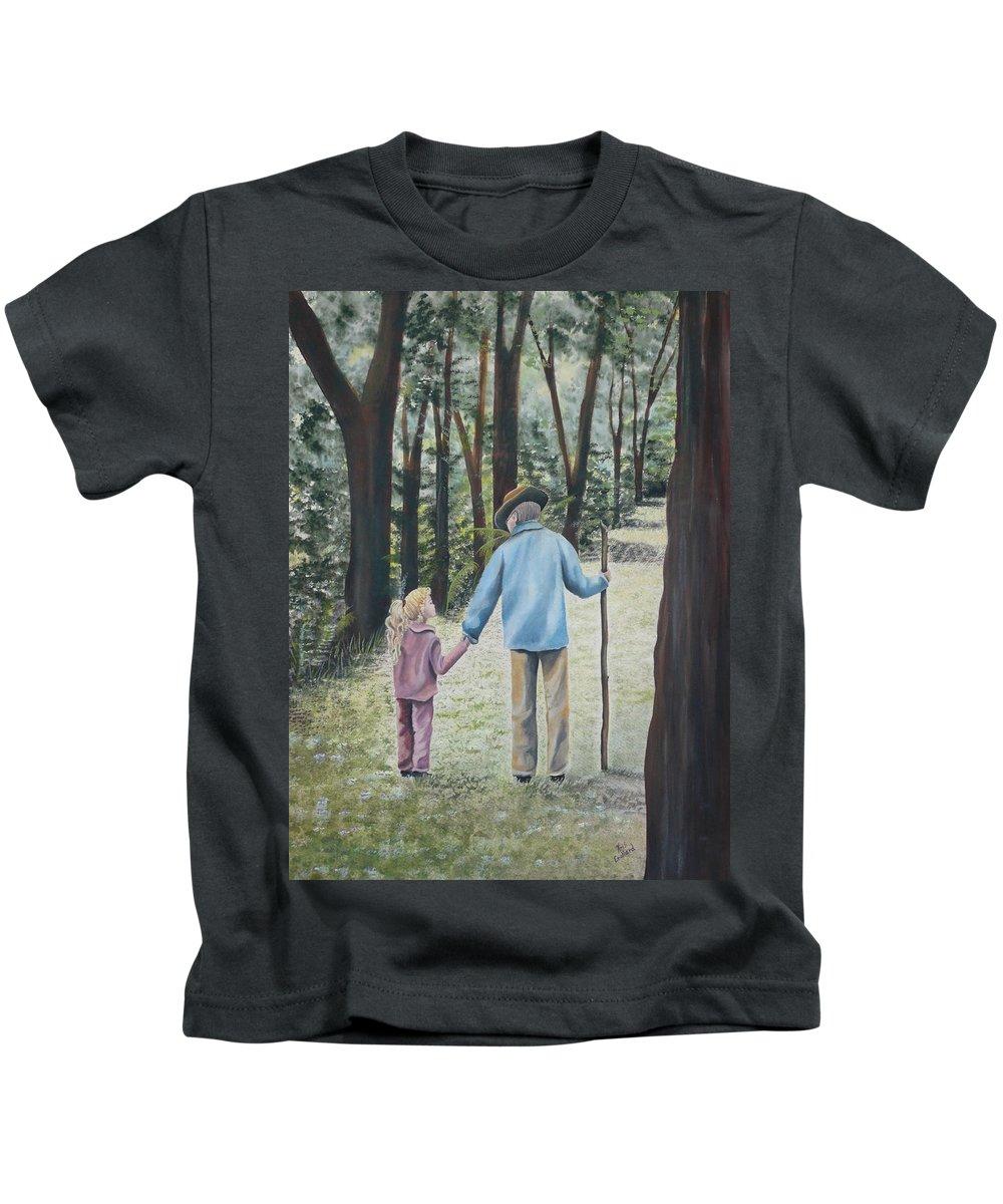 Grandfather Kids T-Shirt featuring the painting Papa by Kris Crollard