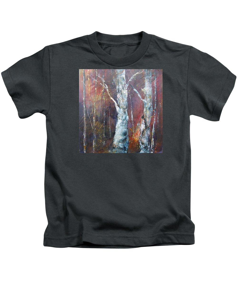 Birch Kids T-Shirt featuring the painting Paper Birch by Madelaine Alter