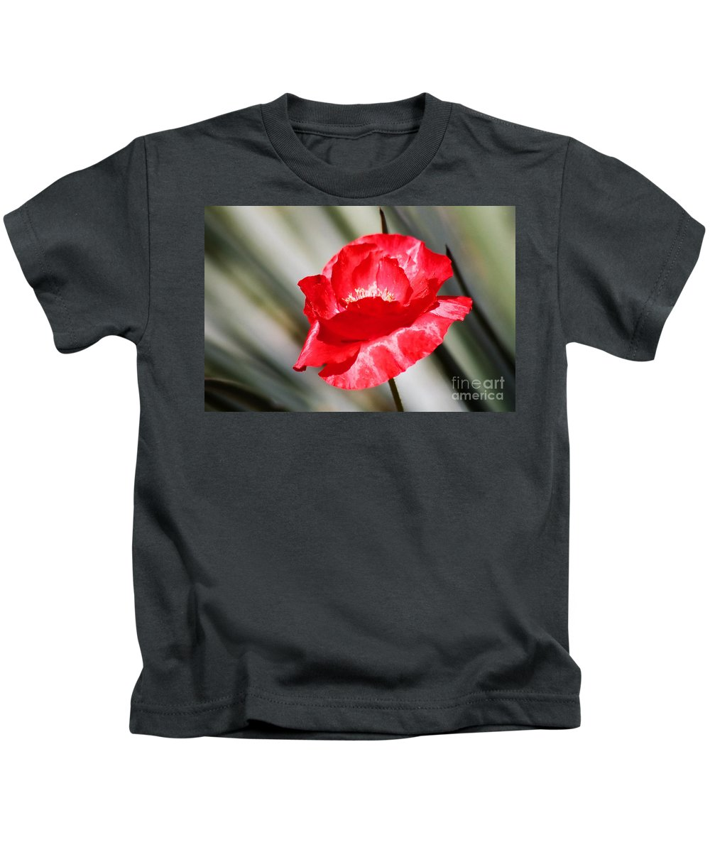 Poppies Kids T-Shirt featuring the photograph Paper Flower II by Kathy McClure
