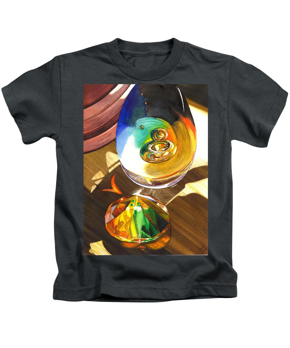 Glass Kids T-Shirt featuring the painting Paperweights by Catherine G McElroy