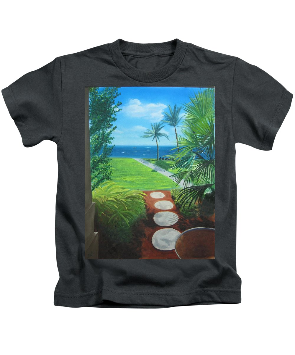 Seascape Kids T-Shirt featuring the painting Paradise Beckons by Lea Novak