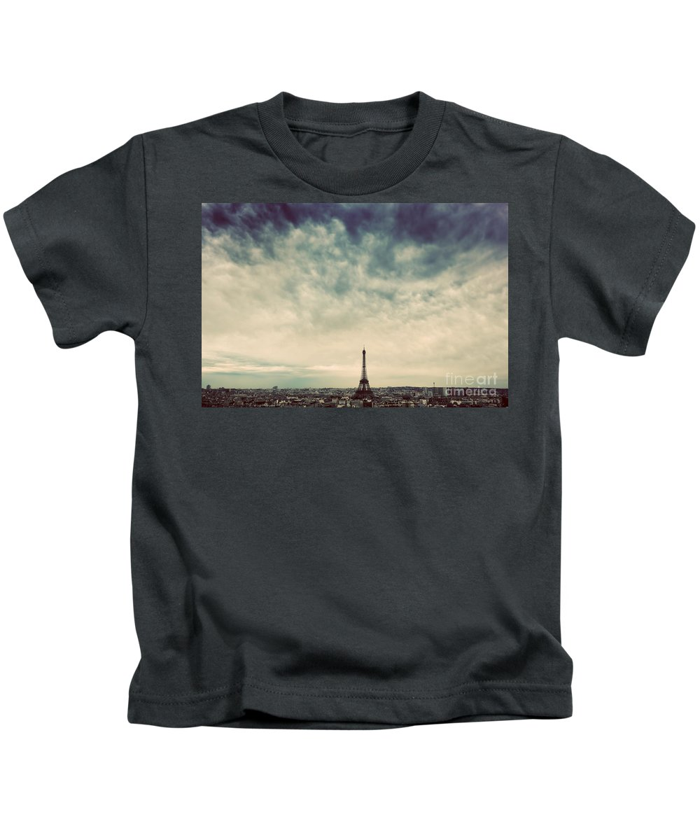 Paris Kids T-Shirt featuring the photograph Paris, France Skyline With Eiffel Tower. Dark Clouds, Vintage by Michal Bednarek