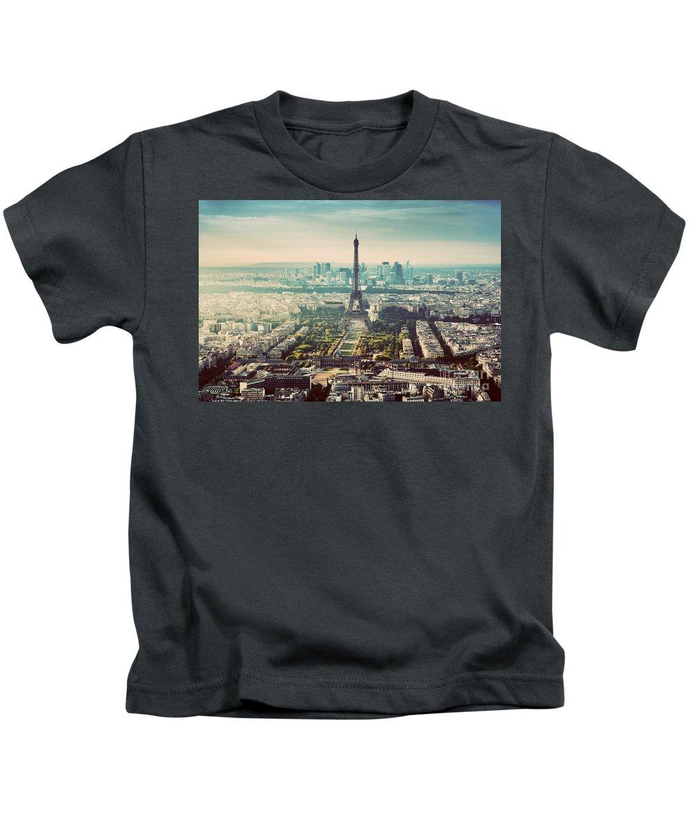Paris Kids T-Shirt featuring the photograph Paris, France Vintage Skyline, Panorama. Eiffel Tower, Champ De Mars by Michal Bednarek