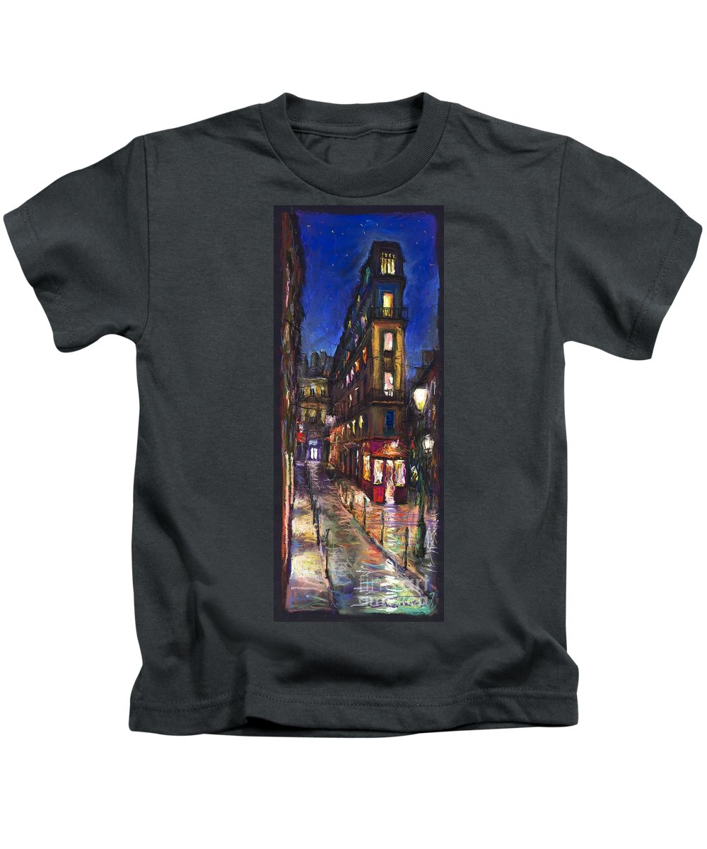 Landscape Kids T-Shirt featuring the painting Paris Old Street by Yuriy Shevchuk