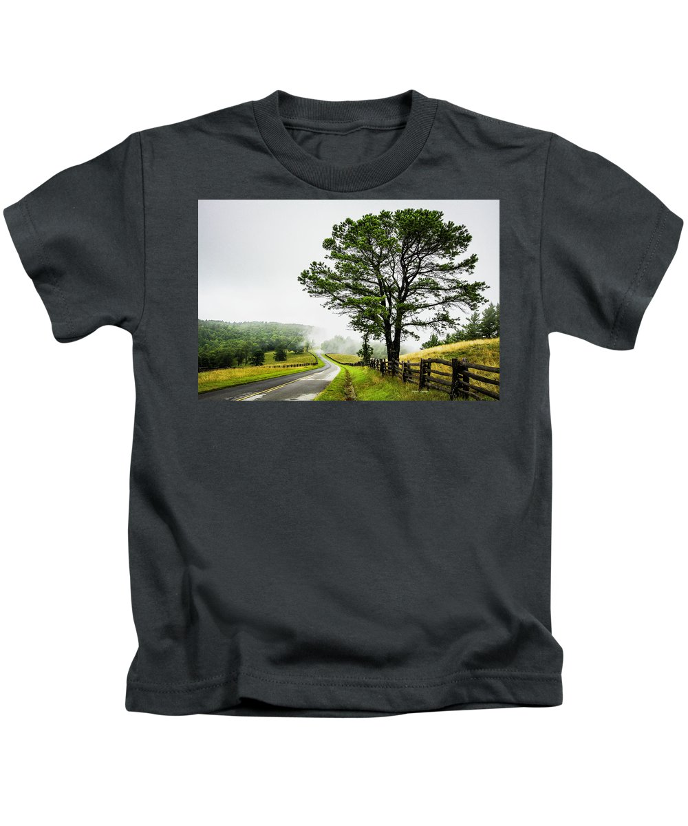 Blue Ridge Parkway Kids T-Shirt featuring the photograph Parkway Mist by Dale R Carlson