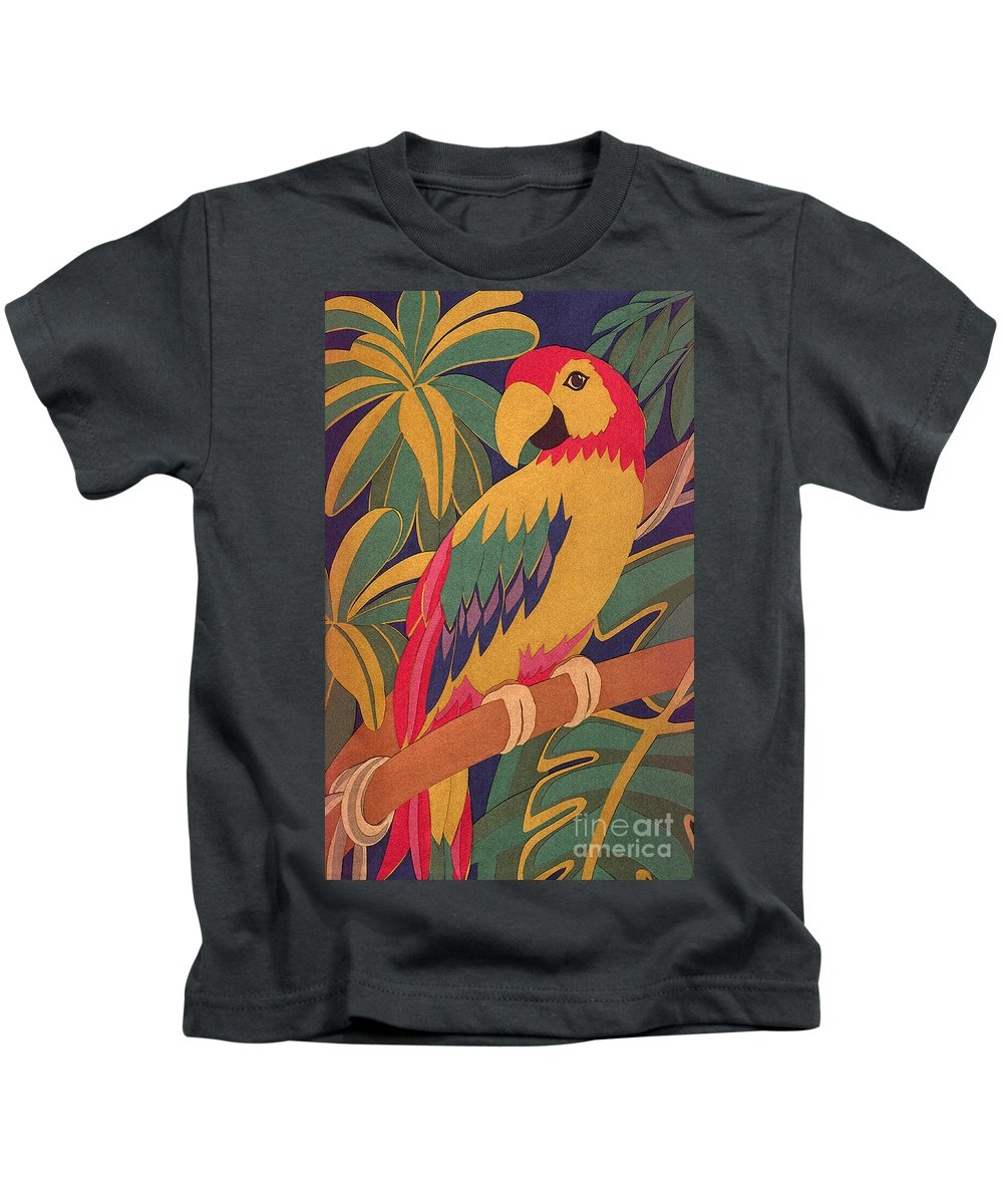 Nature Kids T-Shirt featuring the drawing Parrot by Lucyna A M Green