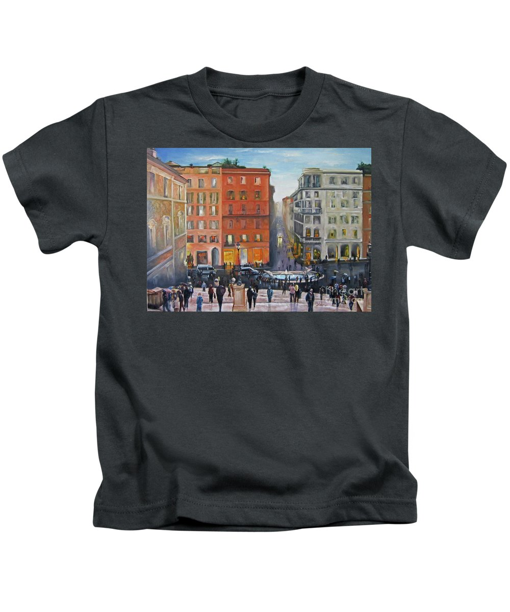 Rome Kids T-Shirt featuring the painting Passeggiata by Leah Wiedemer