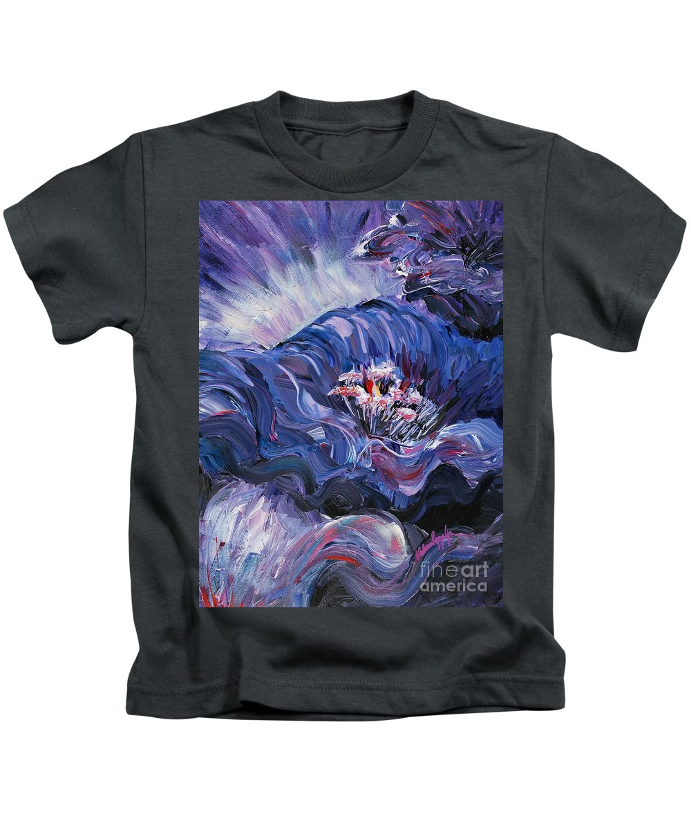 Blue Kids T-Shirt featuring the painting Passion In Blue by Nadine Rippelmeyer