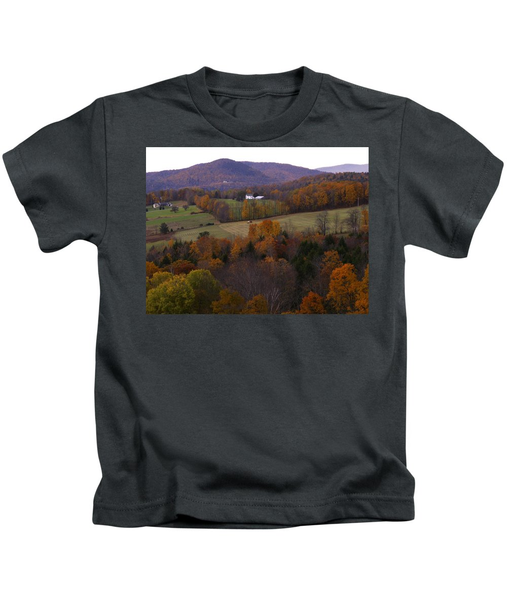 Vermont Kids T-Shirt featuring the photograph Patch Worked Mountains in Vermont by Nancy Griswold