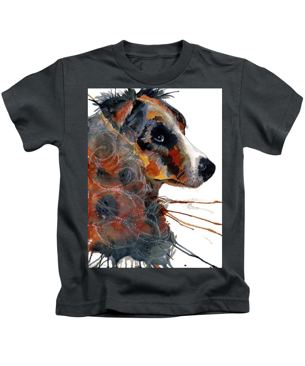 Dog Kids T-Shirt featuring the painting Paws by Gina Rossi armfield
