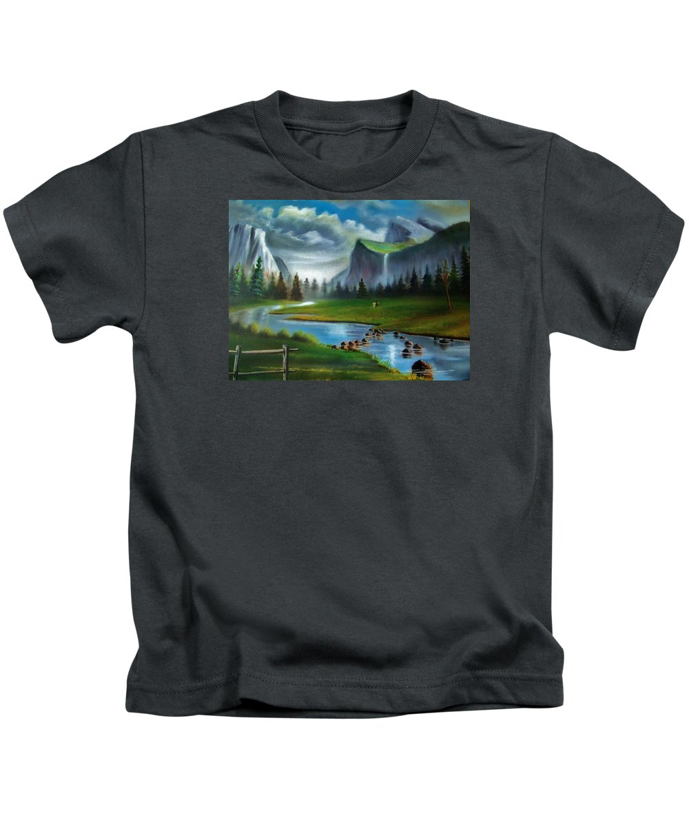 Landscape Kids T-Shirt featuring the painting Peaceful Retreat by Scott Easom