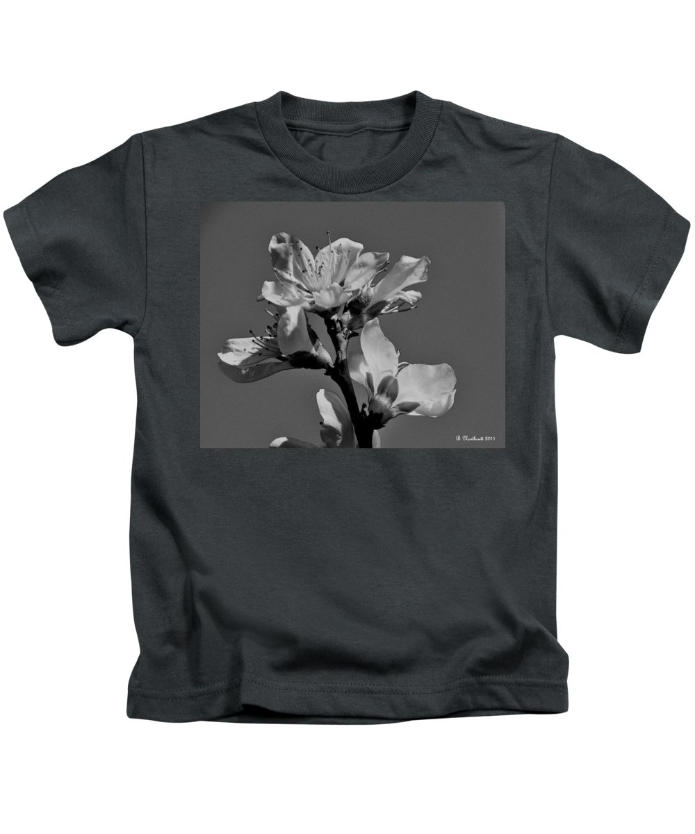 Peach Kids T-Shirt featuring the photograph Peach Blossoms In Grayscale by Betty Northcutt