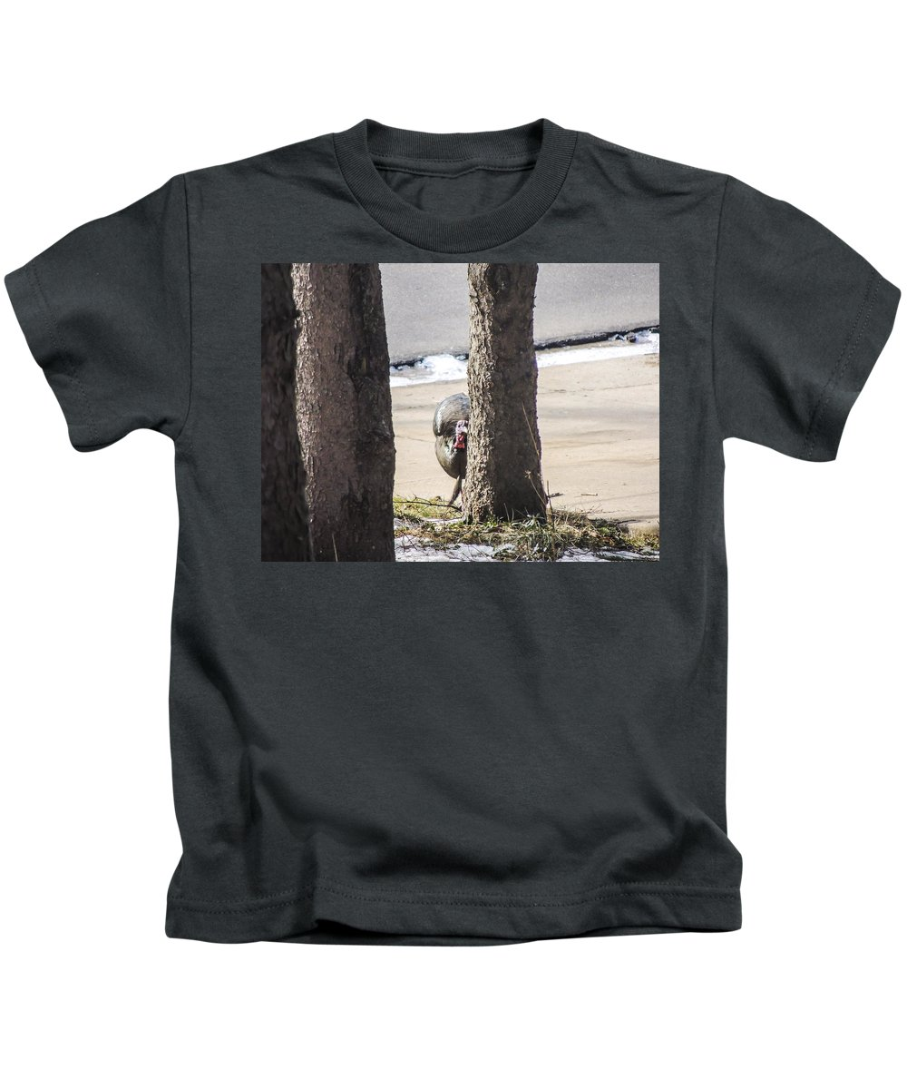 Turkey Kids T-Shirt featuring the photograph Peak-a-boo by Douglas Neumann
