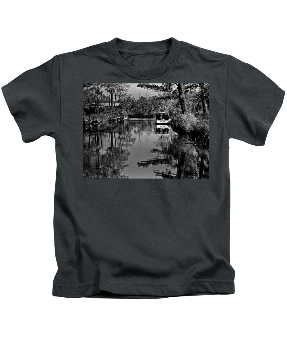 Shrimp Boat Kids T-Shirt featuring the painting Pearl Bw by Michael Thomas