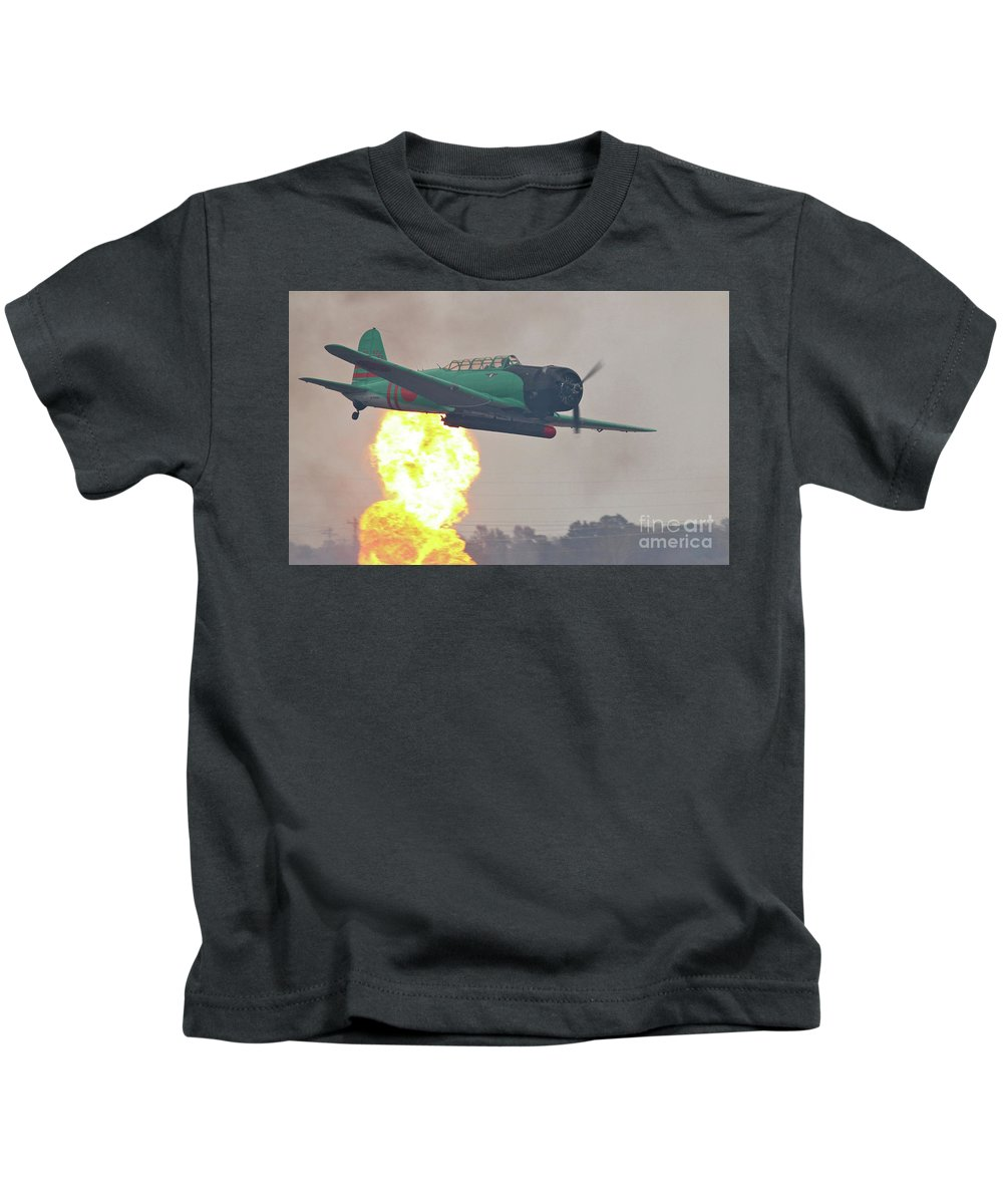 Bomber Kids T-Shirt featuring the photograph Pearl Harbor Reenactment by Kevin McCarthy