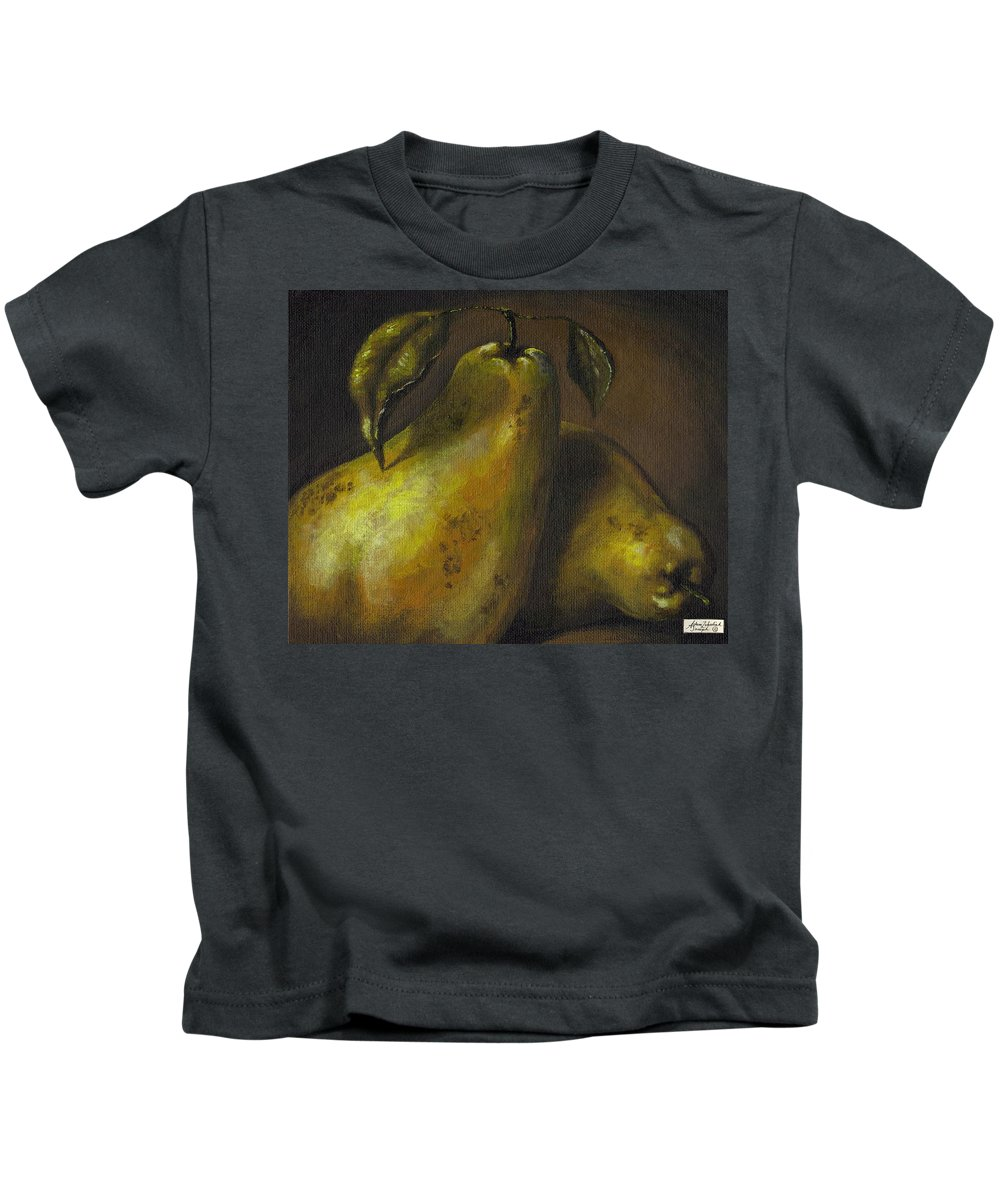 Still Life Kids T-Shirt featuring the painting Pears by Adam Zebediah Joseph
