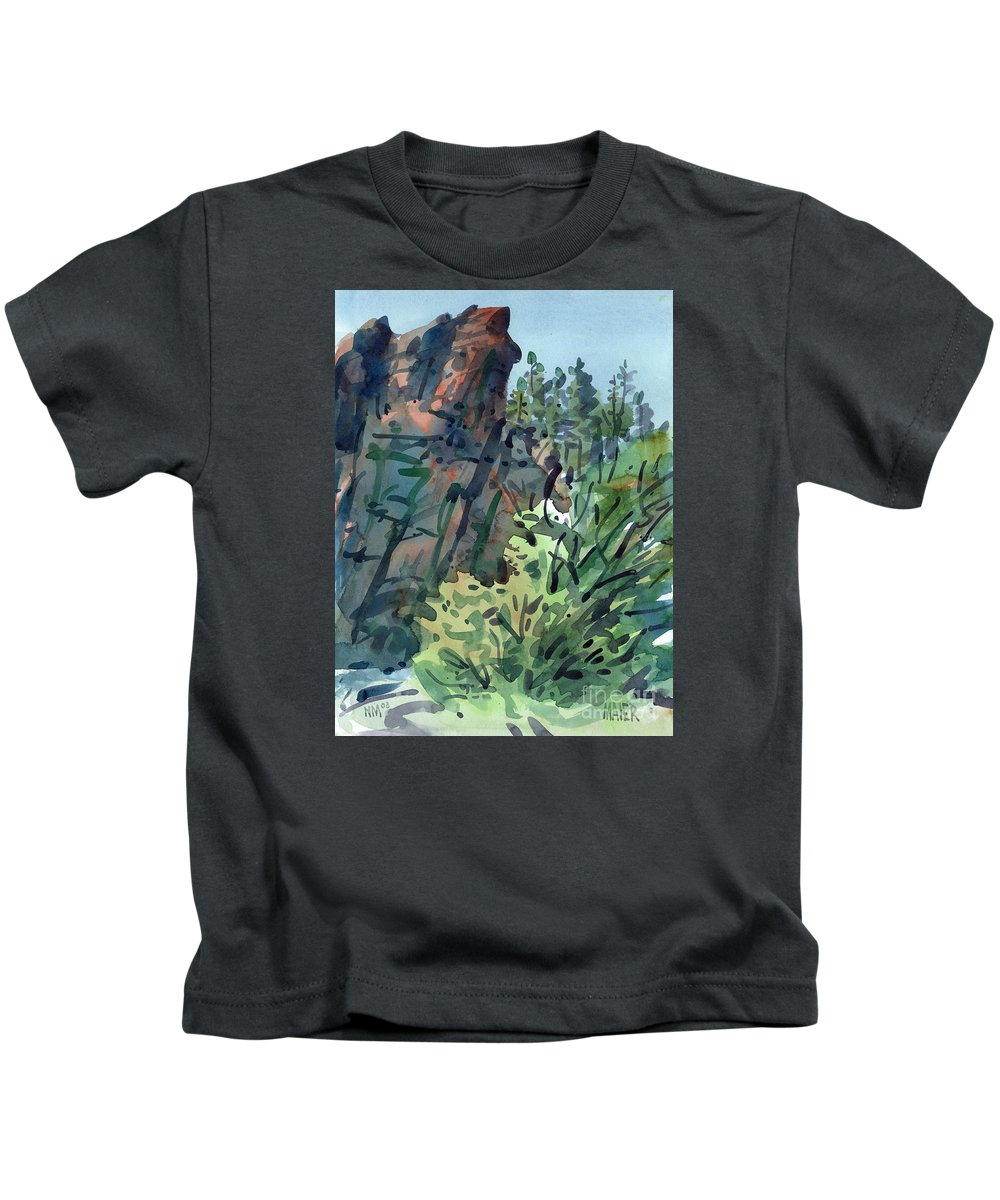 Canyon Kids T-Shirt featuring the painting Pecos Canyon by Donald Maier