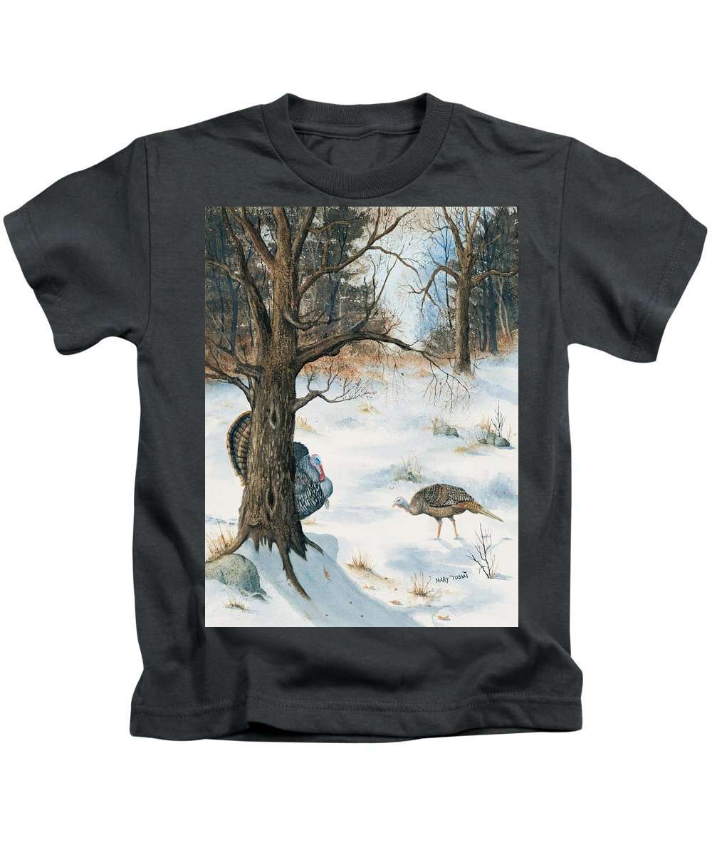 Turkey Kids T-Shirt featuring the painting Peeping Tom by Mary Tuomi