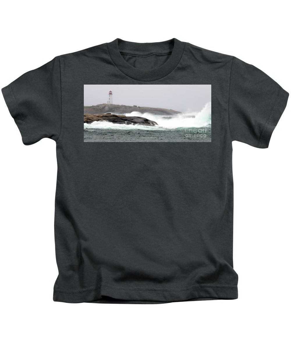 Peggy's Cove Kids T-Shirt featuring the photograph Peggys Cove Lighthouse 6138 by Jack Schultz