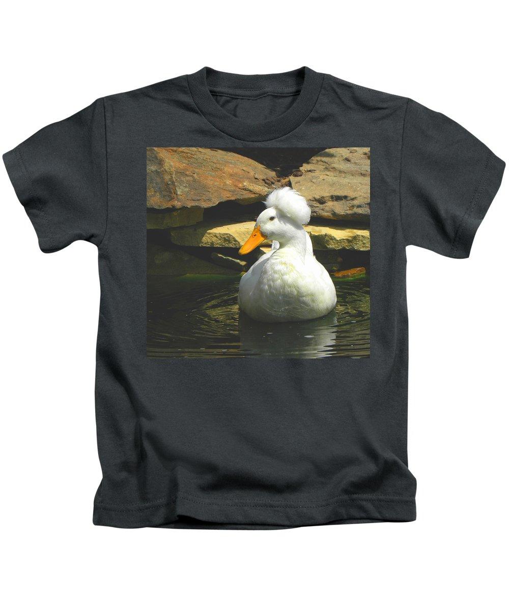 Pekin Pop Top Duck Kids T-Shirt featuring the photograph Pekin Pop Top Duck by Sandi OReilly