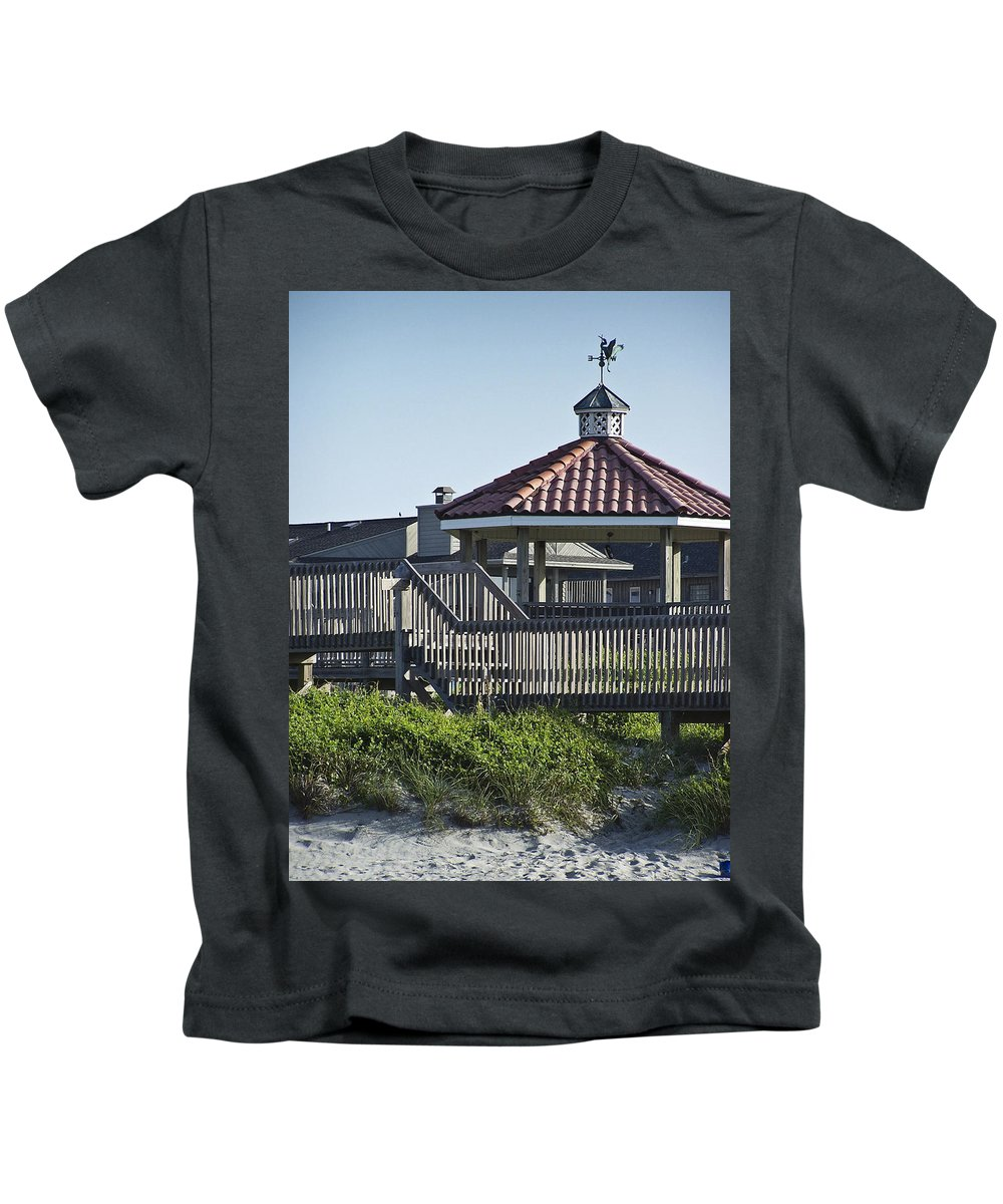 Pelican Kids T-Shirt featuring the photograph Pelican Weathervane Ocean Isle Norht Carolina by Teresa Mucha