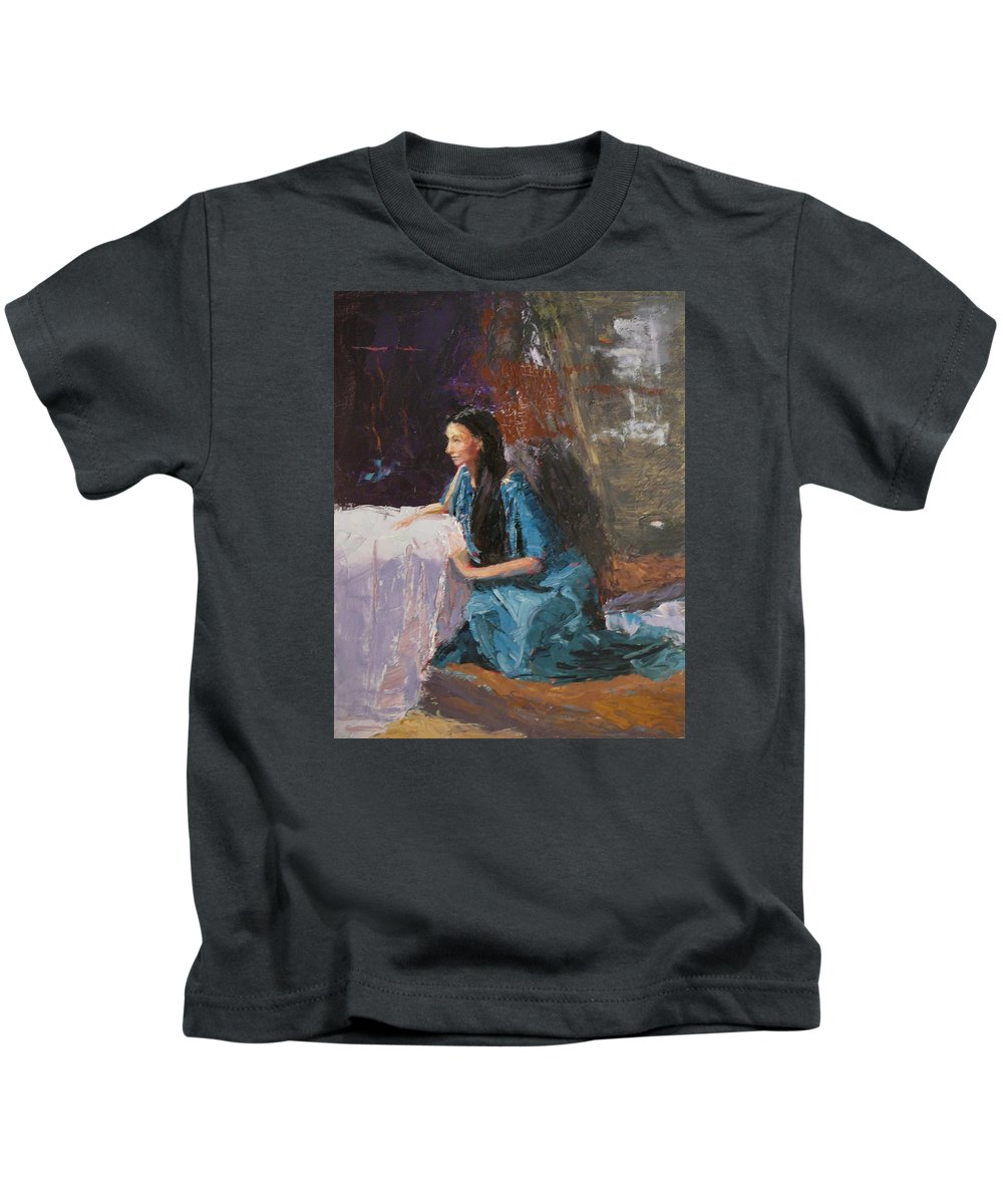 Sitting Woman Kids T-Shirt featuring the painting Penelope by Irena Jablonski