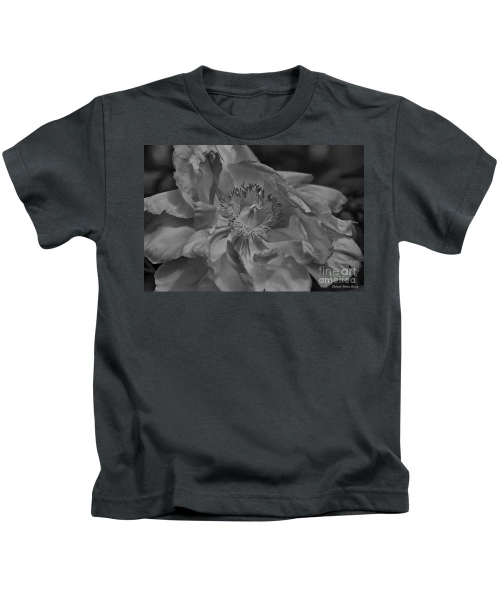 Peonie Kids T-Shirt featuring the photograph Peonie In Bw by Deborah Benoit