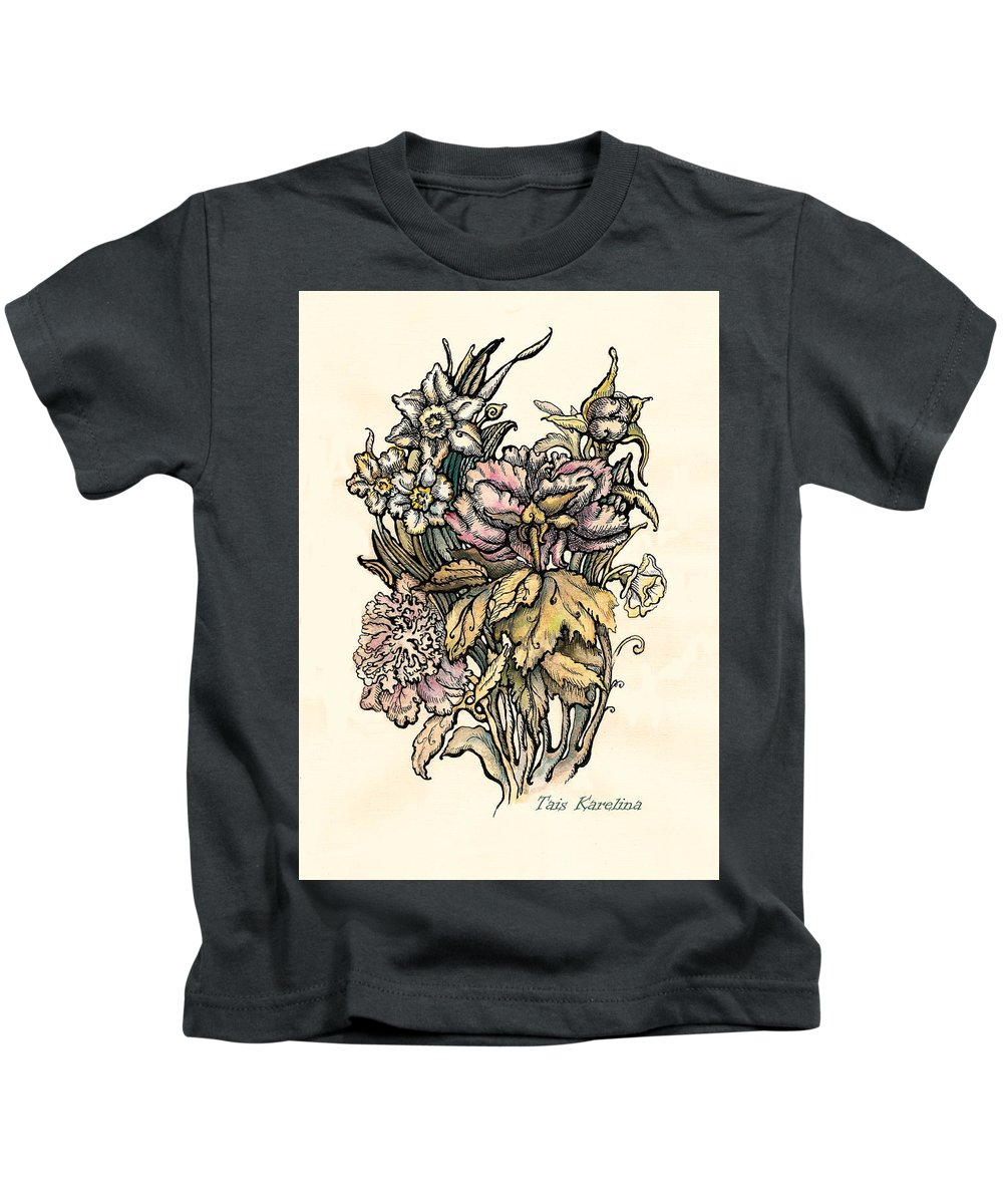 Watercolor Flower Kids T-Shirt featuring the drawing Peony by Tais Karelina