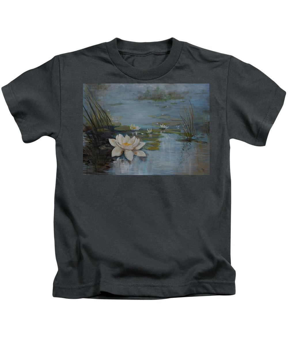 Water Lily Kids T-Shirt featuring the painting Perfect Lotus - Lmj by Ruth Kamenev