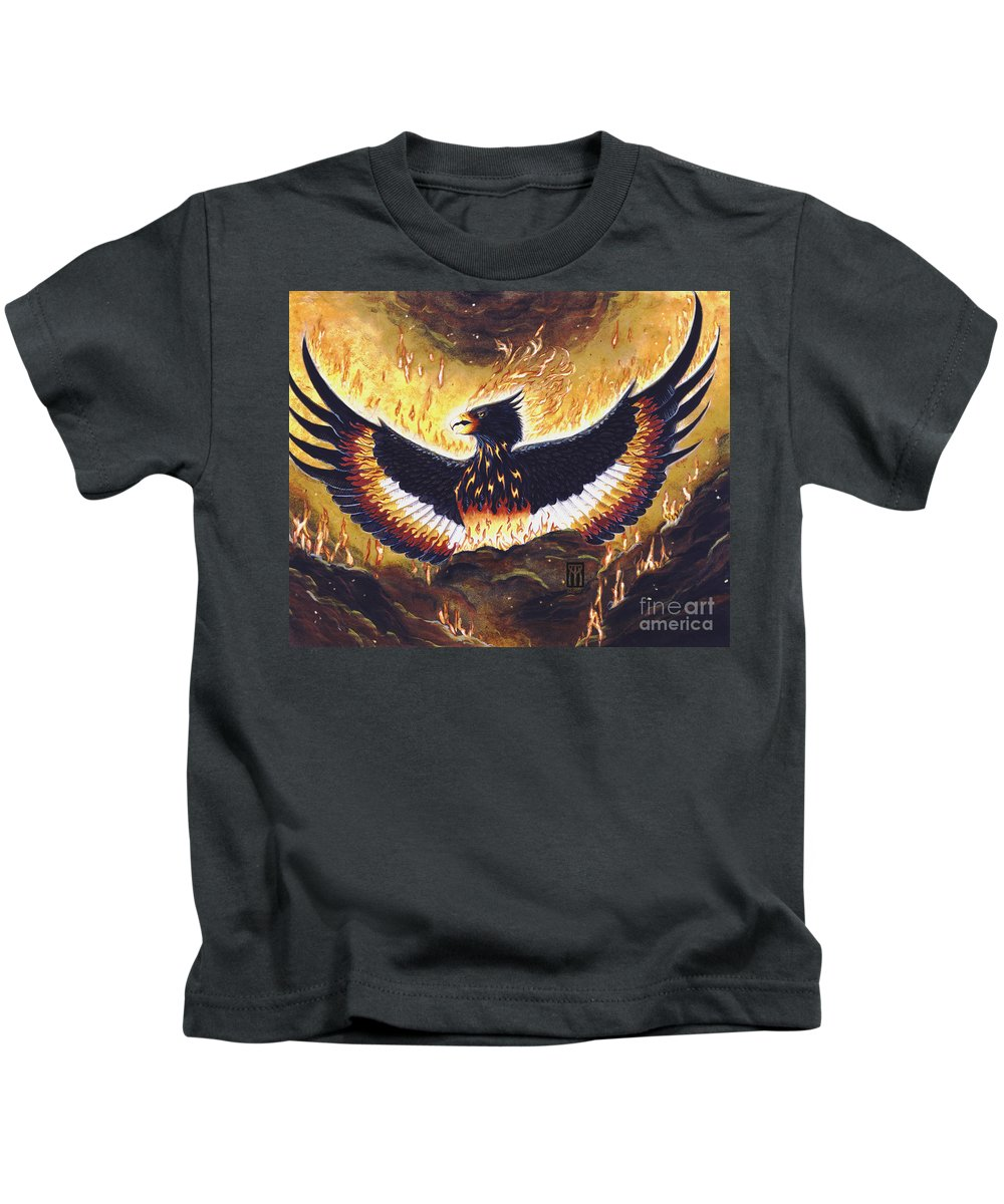 Phoenix Kids T-Shirt featuring the painting Phoenix Rising by Melissa A Benson