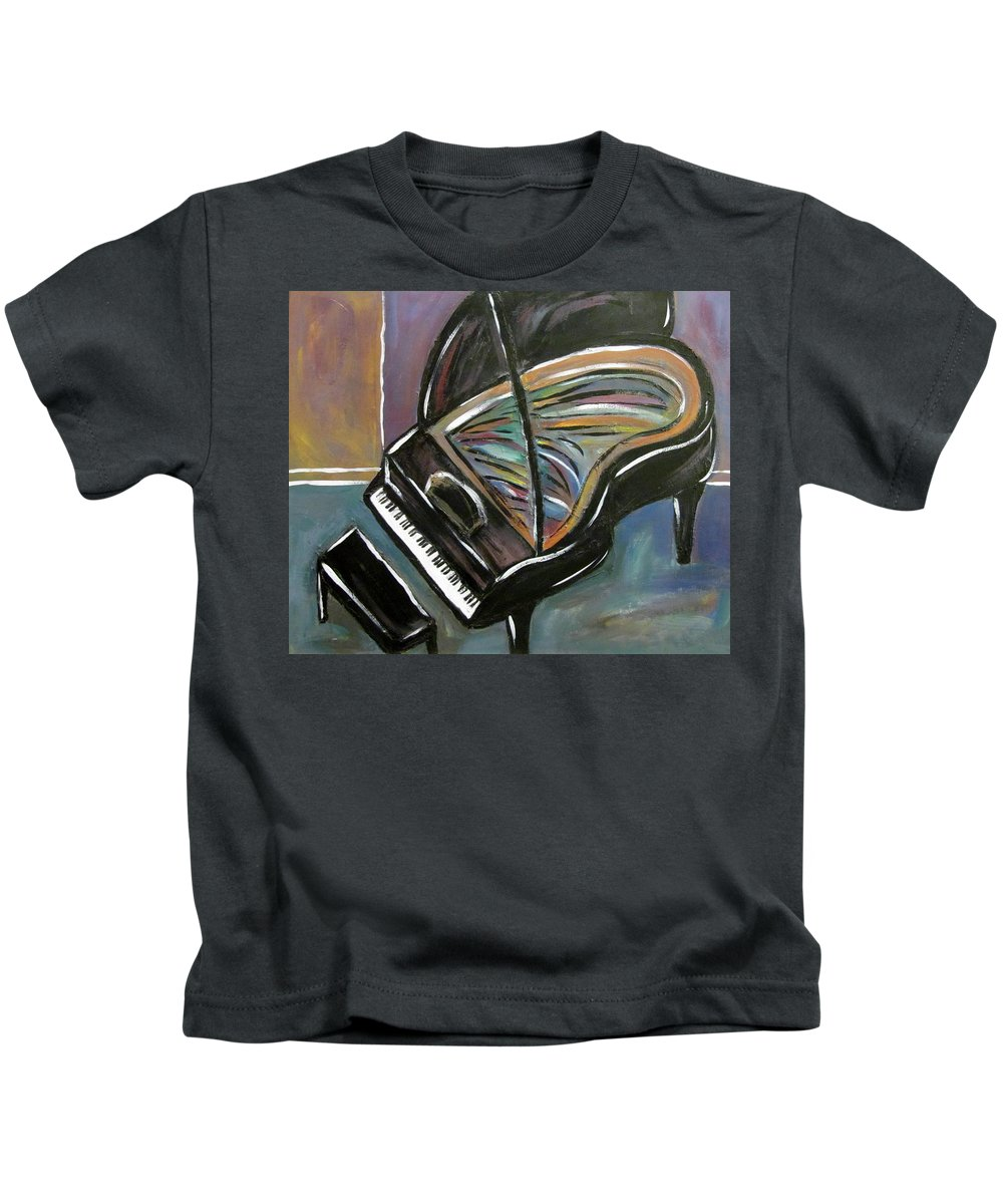 Impressionist Kids T-Shirt featuring the painting Piano With High Heel by Anita Burgermeister