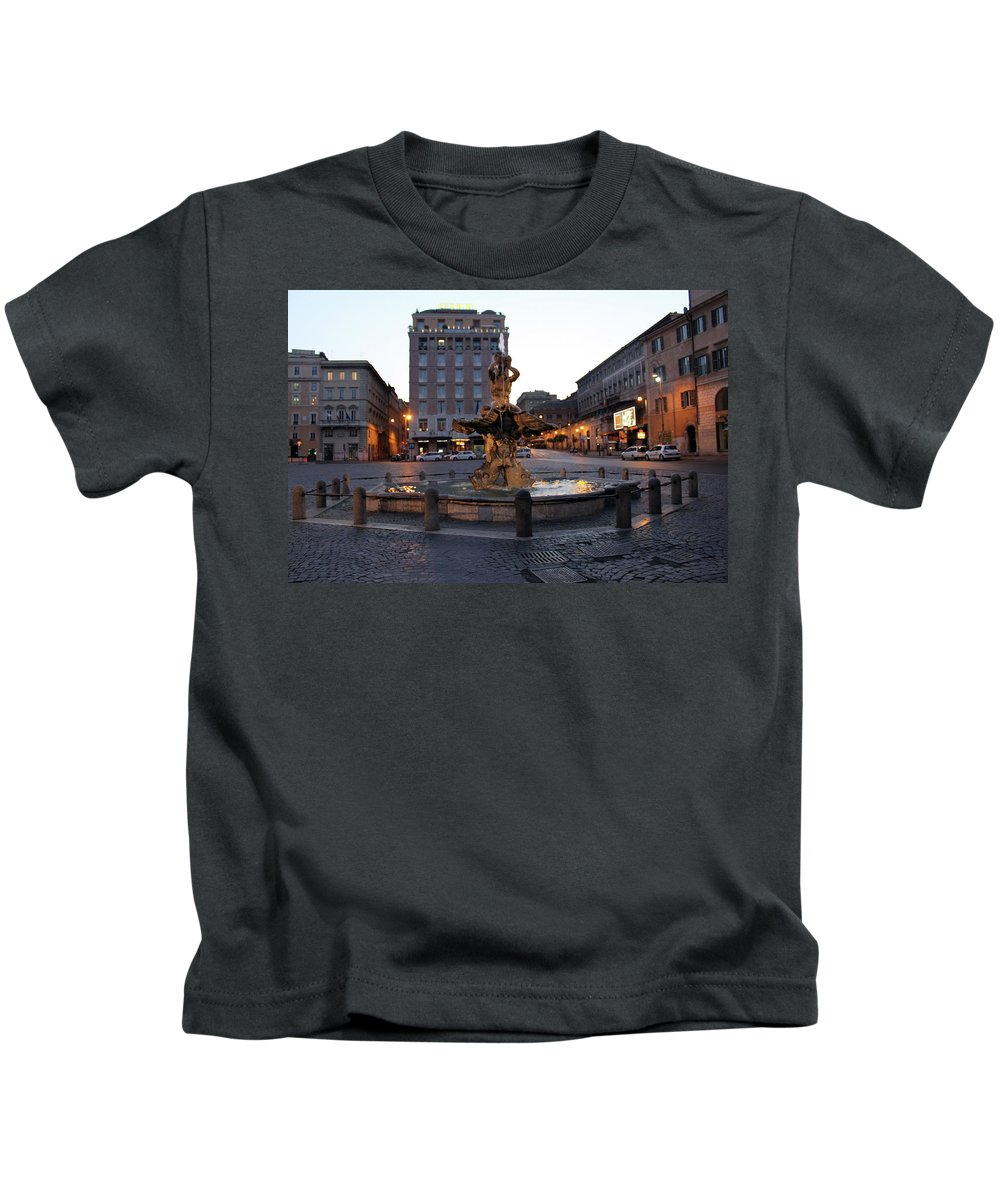 Piazza Kids T-Shirt featuring the photograph Piazza At Night by Munir Alawi