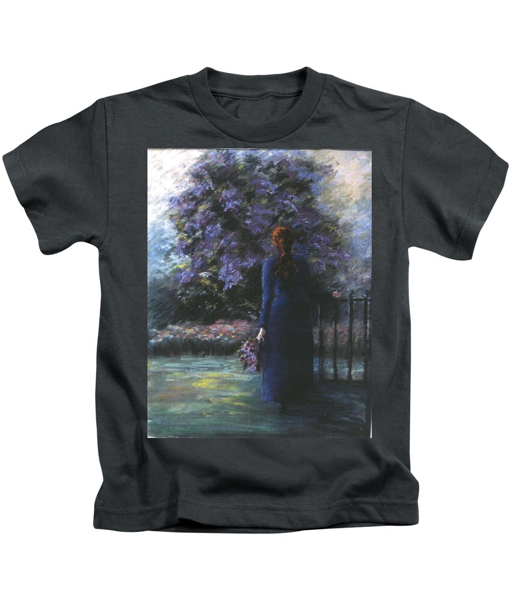 Woman Lilac Flower Tree Kids T-Shirt featuring the pastel Picking Lilacs by Pat Snook