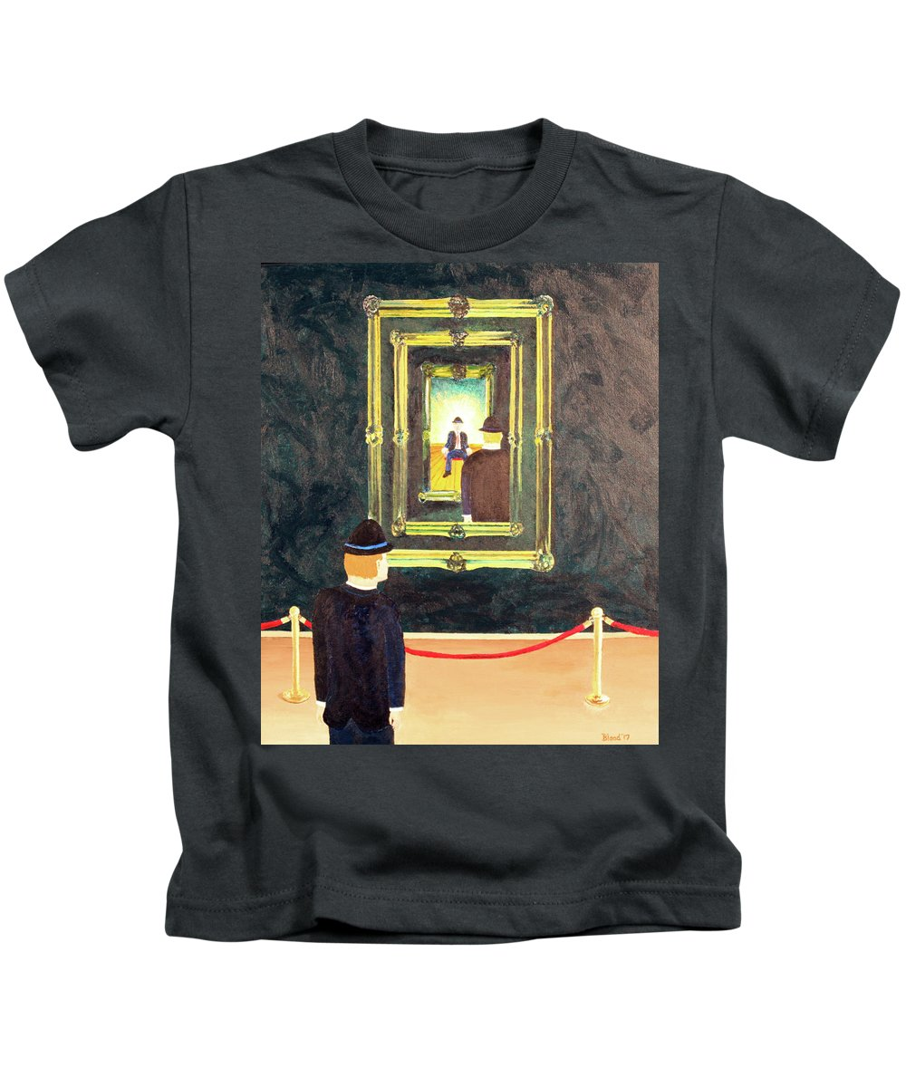Surrealism Kids T-Shirt featuring the painting Pictures At An Exhibition by Thomas Blood