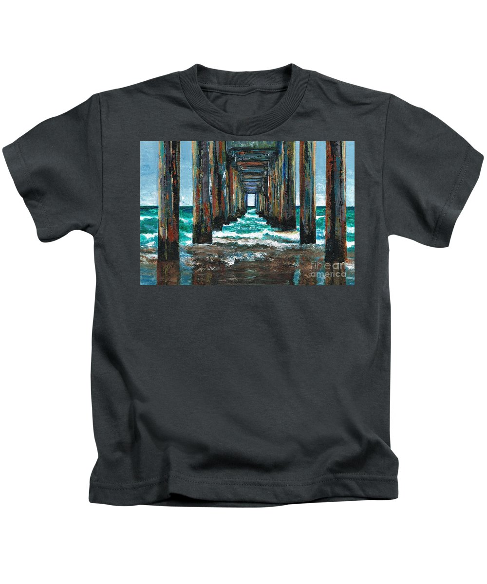 Ocean Kids T-Shirt featuring the painting Pier One by Frances Marino