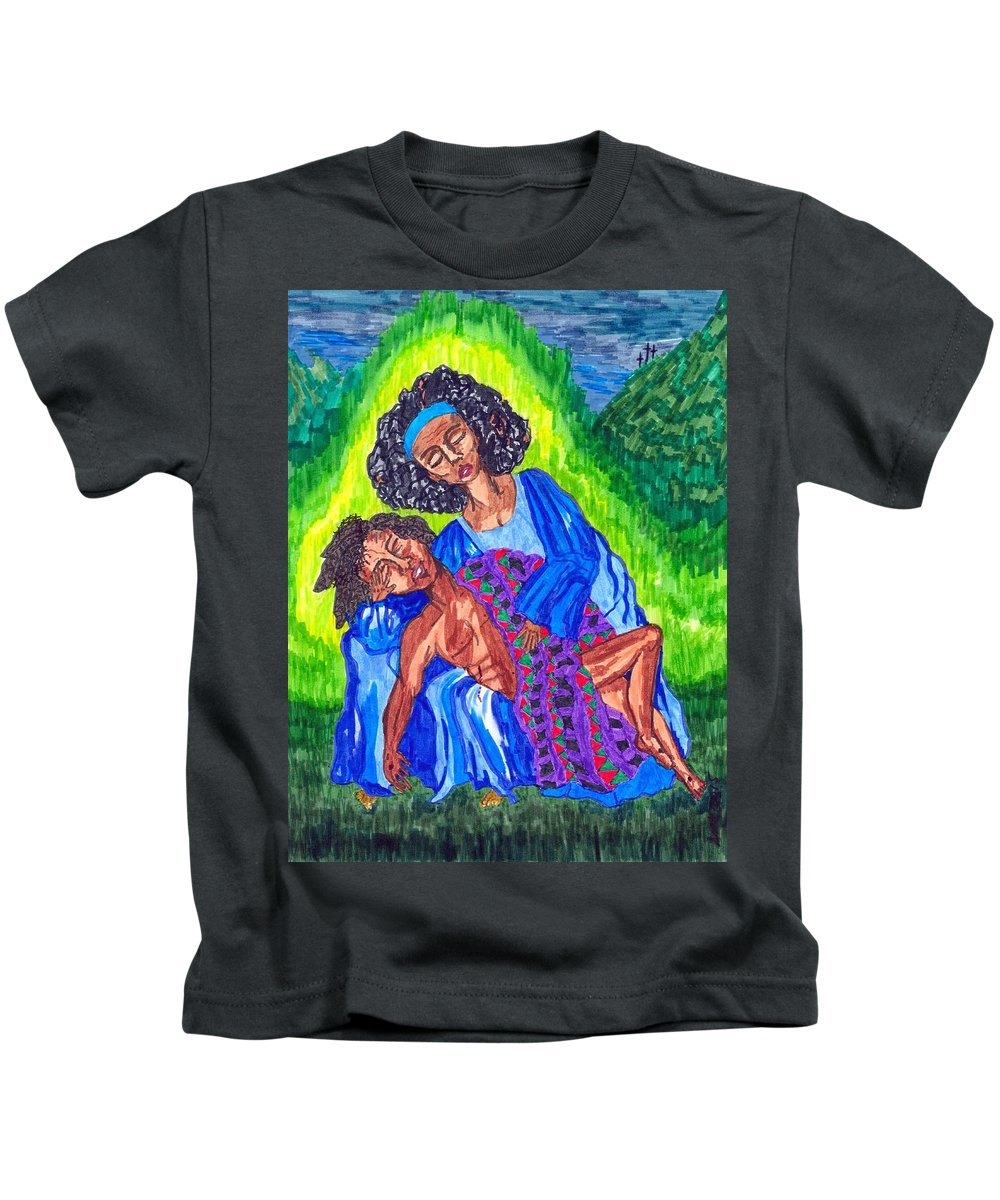 Black Pieta Kids T-Shirt featuring the painting Pieta-2 by Stacey Torres