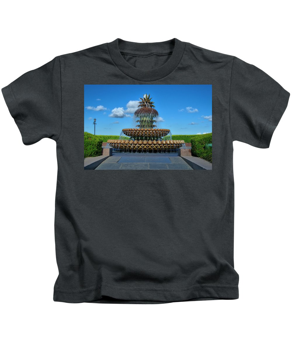 Pineapple Kids T-Shirt featuring the photograph Pineapple Fountain by TJ Baccari