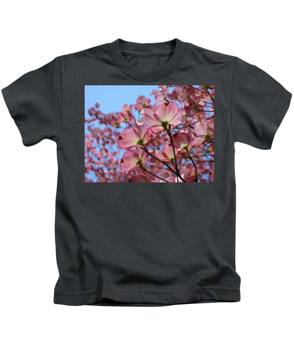 Dogwood Kids T-Shirt featuring the photograph Pink Dogwood Flowers Landscape 11 Blue Sky Botanical Artwork Baslee Troutman by Baslee Troutman