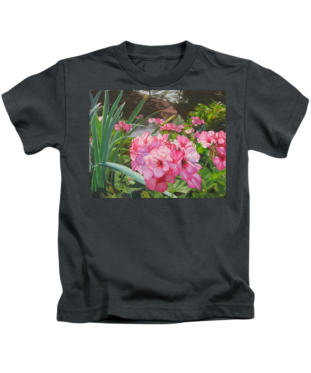 Pink Geraniums Kids T-Shirt featuring the painting Pink Geraniums by Lea Novak