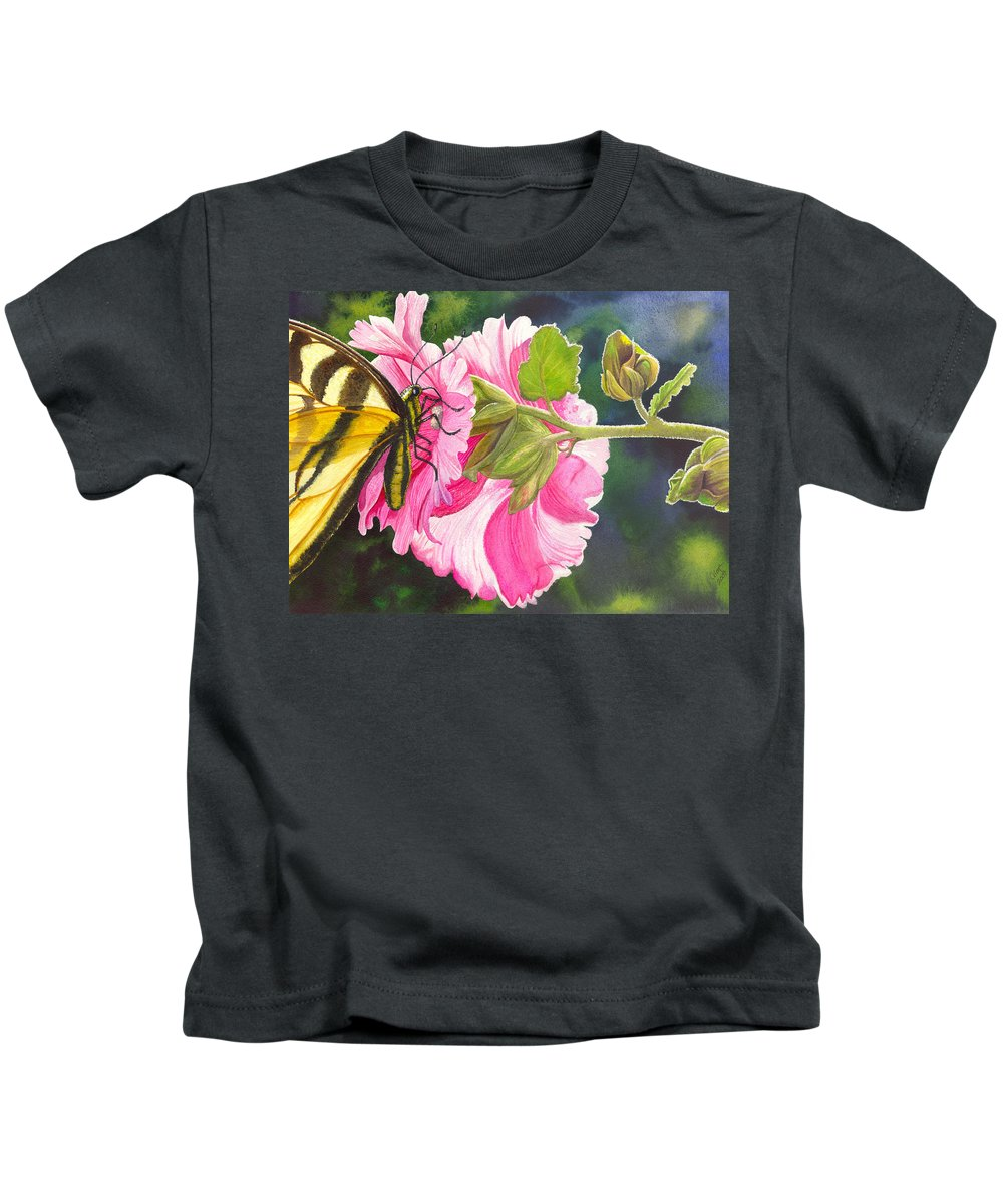Hollyhock Kids T-Shirt featuring the painting Pink Hollyhock by Catherine G McElroy