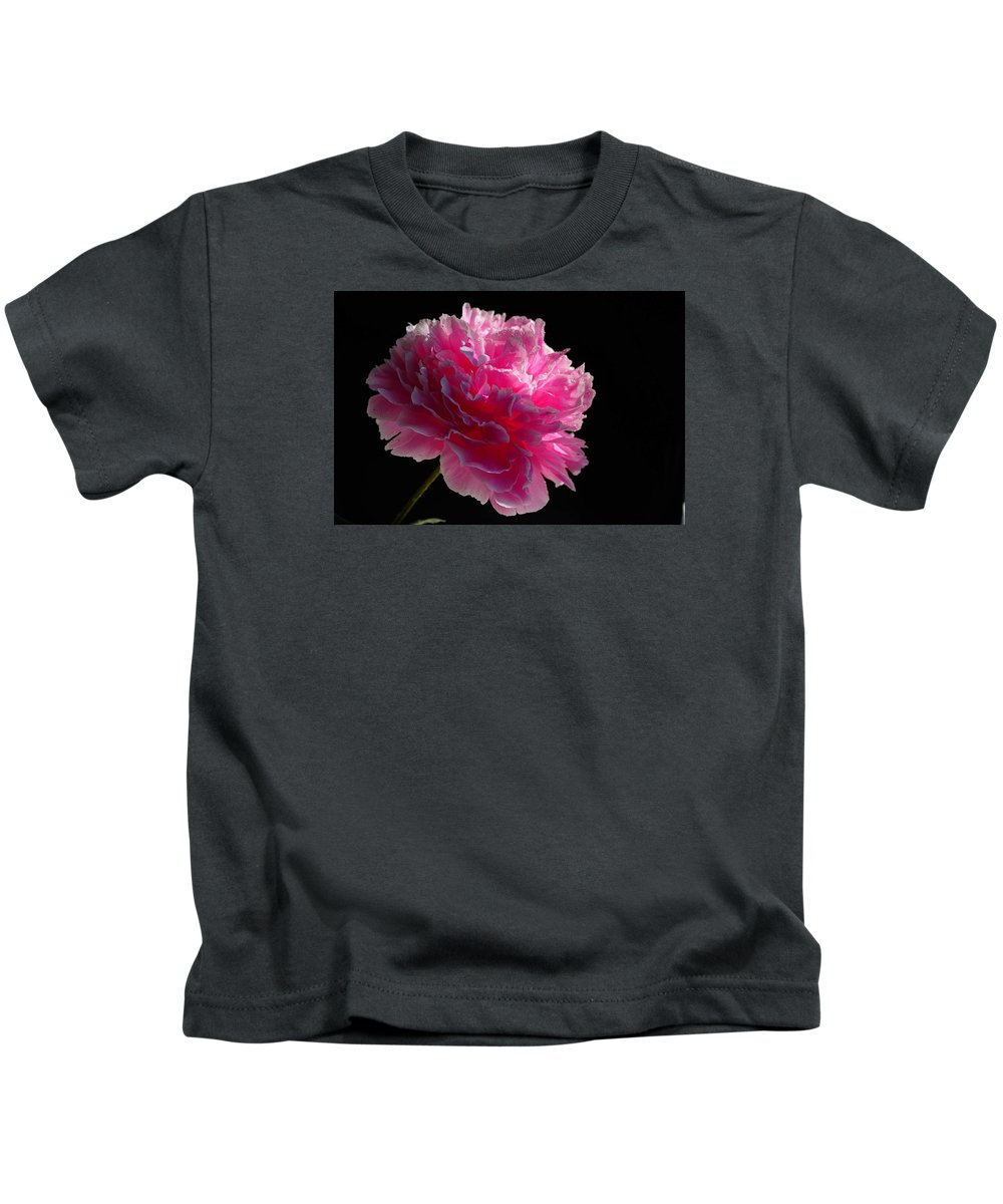 Microcosm Kids T-Shirt featuring the photograph Pink Peony On A Black Background by Yuri Hope