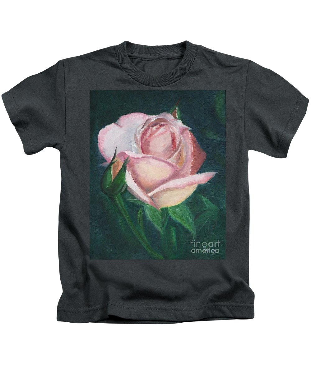 Rose Kids T-Shirt featuring the painting Pink Rose by Mendy Pedersen
