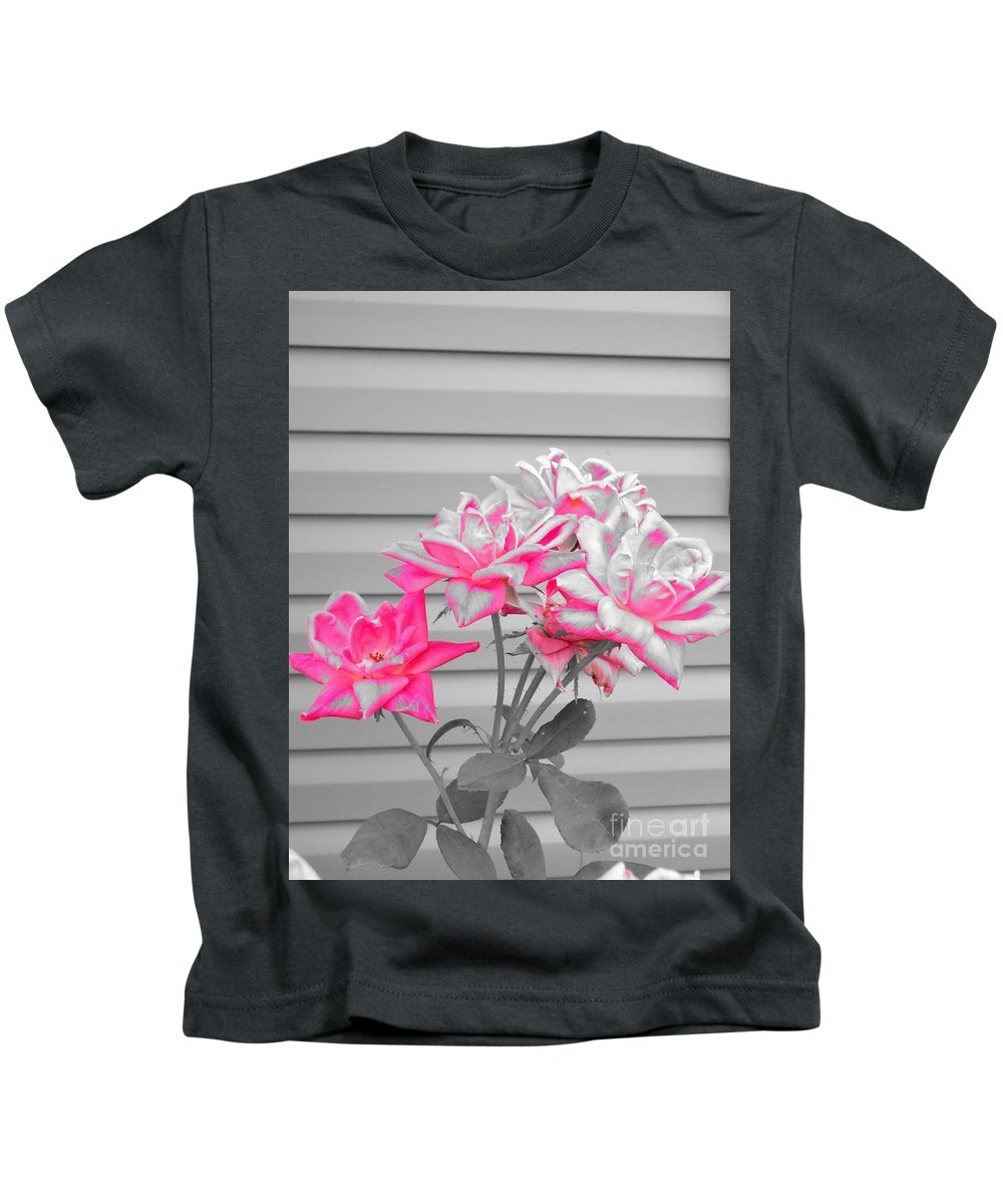 Pink Kids T-Shirt featuring the photograph Pink Rose Tree Pop by Scenic Sights By Tara