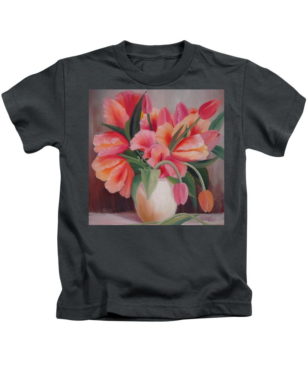 Painting Of Flowers Kids T-Shirt featuring the painting Pink Tulips by Thuthuy Tran
