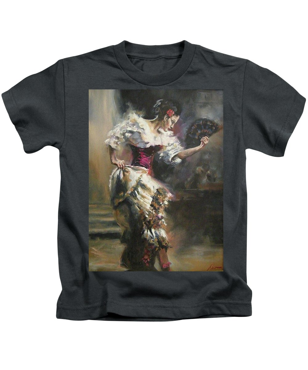 Dancers Kids T-Shirt featuring the painting Pino D'angelico's The Dancer by Mia DeLode