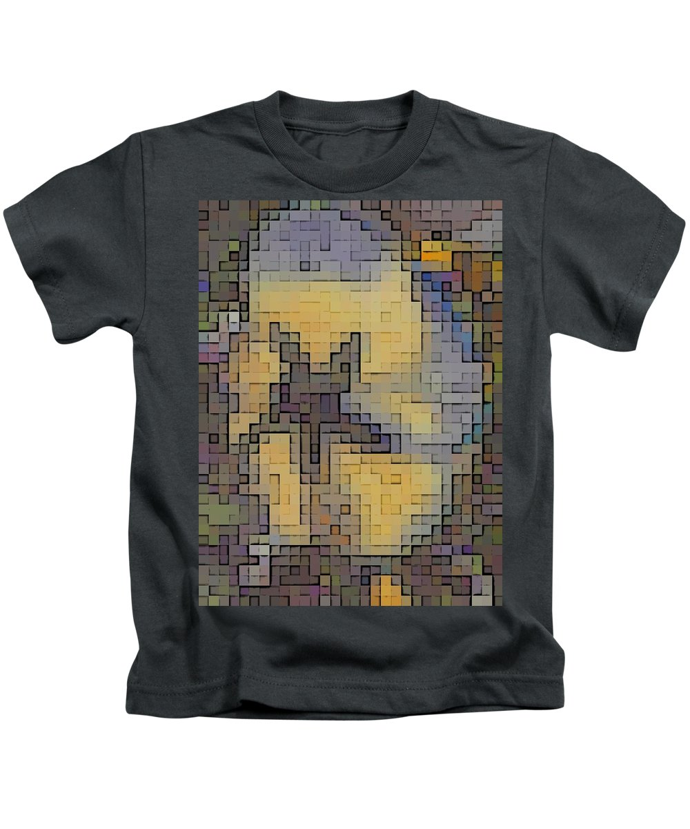 Abstract Kids T-Shirt featuring the digital art Pixel Pansy by Tim Allen