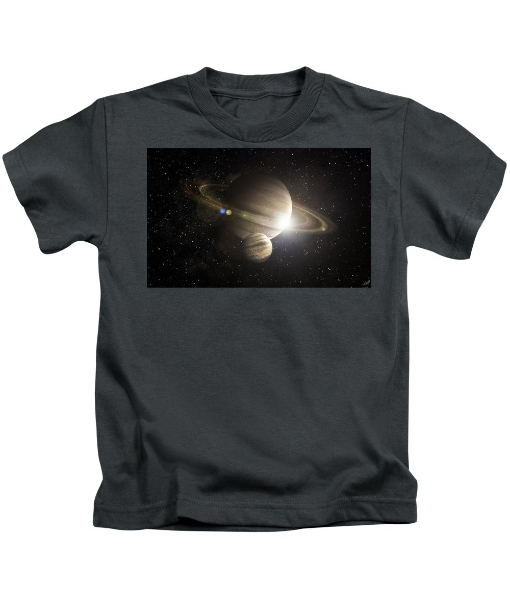 Planetary Ring Kids T-Shirt featuring the digital art Planetary Ring by Dorothy Binder