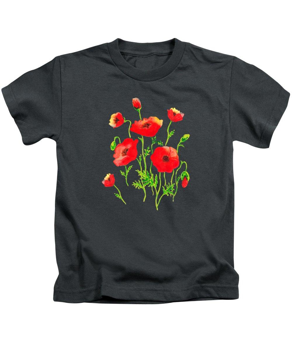 Poppy Kids T-Shirt featuring the painting Playful Poppy Flowers by Irina Sztukowski