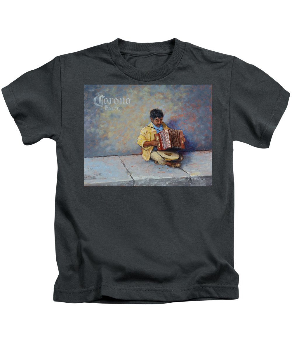 Mexico Kids T-Shirt featuring the painting Playing For Pesos by Jerry McElroy