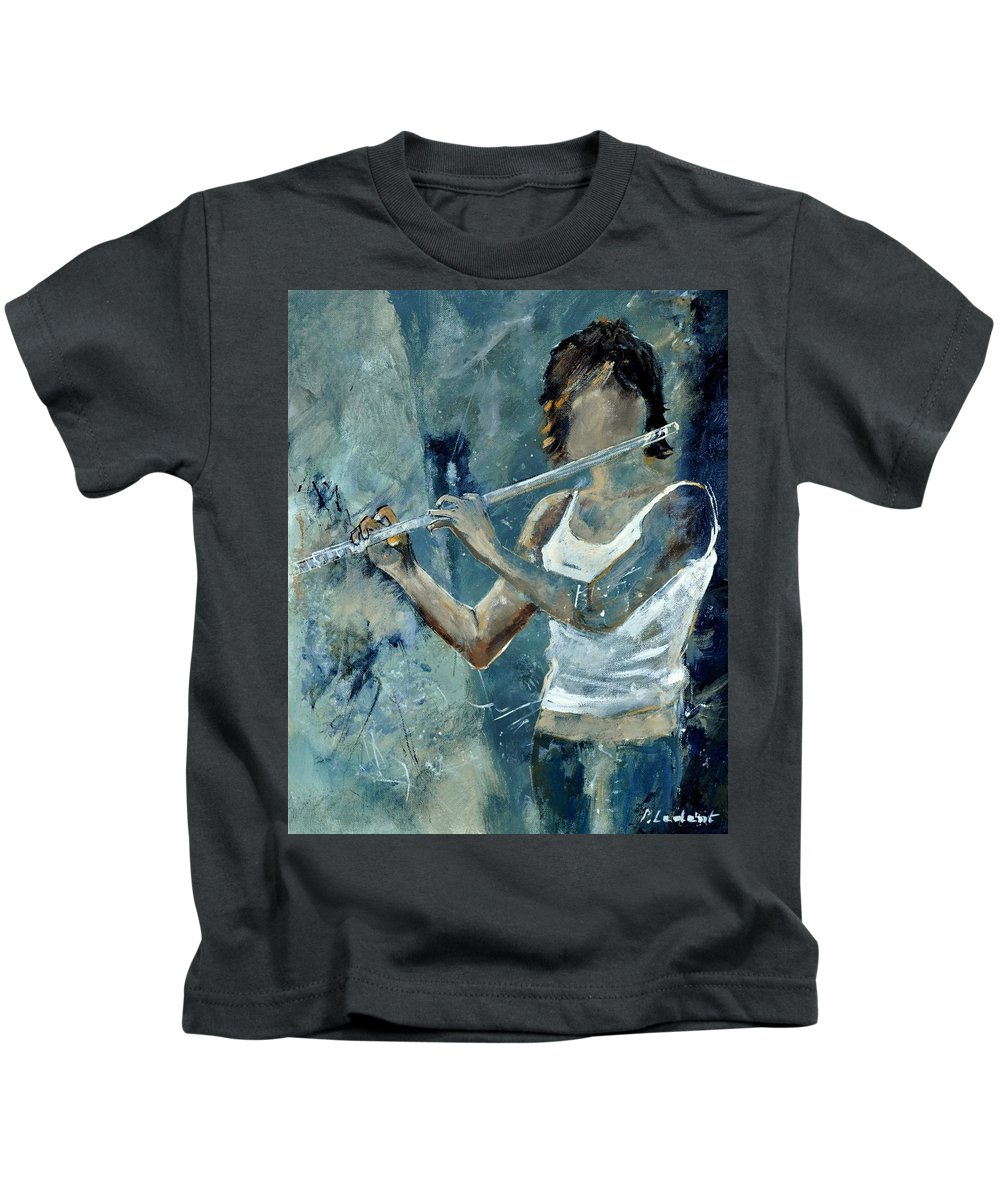 Music Kids T-Shirt featuring the painting Playing The Flute by Pol Ledent
